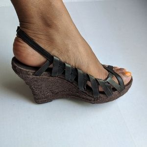 7FAM Brown Leather Wedge Espadrille Open Toe